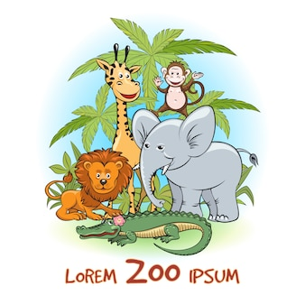Zoo cartoon animals logo