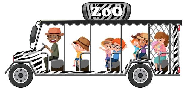 白い背景で隔離の観光車の子供たちと動物園のコンセプト