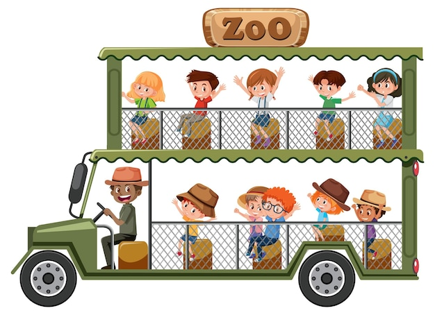 흰색 배경에 고립 된 관광 차에 아이들과 함께 동물원 개념