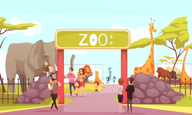 Zoo entrance gate cartoon