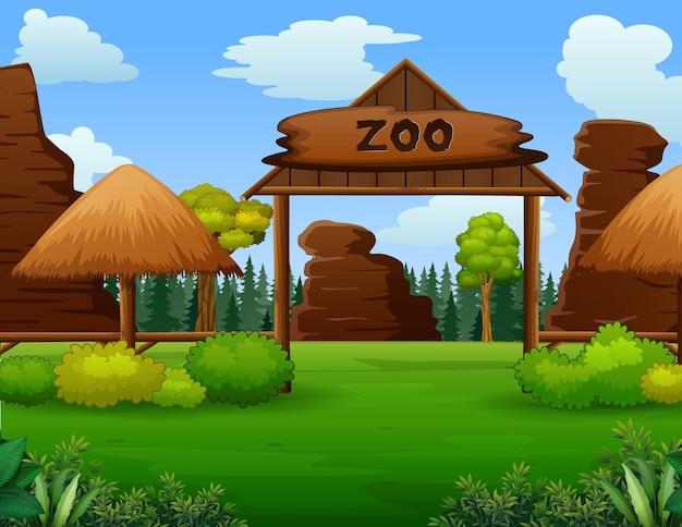 訪問者のイラストがない動物園の入り口