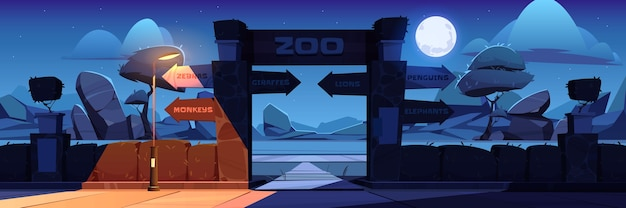 Zoo entrance with wooden board on arch at night. cartoon landscape with entry gates to zoological garden, direction signs to different animals, stones, trees and moon in sky