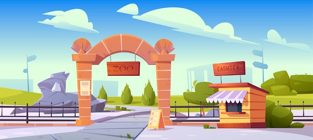 Ingresso zoo con tavola di legno su arco in pietra e cabina cassiera. giardino zoologico per animali selvatici. paesaggio di cartone animato con cancelli d'ingresso, recinzione metallica, cartello e cespugli verdi