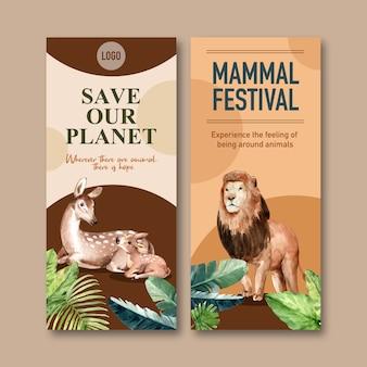 Дизайн флаера зоопарка с оленями, акварельной иллюстрацией льва.