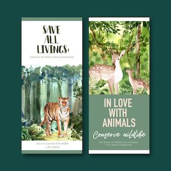 Progettazione dell'aletta di filatoio dello zoo con i cervi, illustrazione dell'acquerello della tigre.