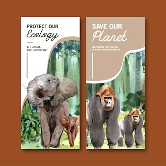 Zoo flyer design with elephant, gorilla watercolor illustration.
