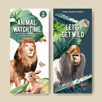Zoo flyer design with lion, gorilla, bee watercolor illustration.
