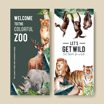 Zoo flyer design with meerkat, lion, tiger watercolor illustration.