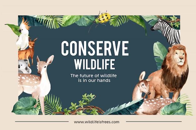 Дизайн рамы зоопарка с лев, олень, кенгуру, коала акварельные иллюстрации.