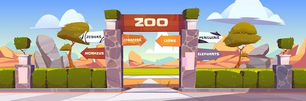 Ворота зоопарка с указателями на диких животных, клетки обезьян, зебр, жирафов, львов, пингвинов и слонов. вход в открытый парк с ограждением из зеленых кустов и каменными столбами. иллюстрации шаржа
