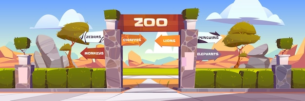 Zoo gates with pointers to wild animals cages monkeys, zebras, giraffes, lions, penguins and elephants. outdoor park entrance with green bushes fencing and stone pillars. cartoon illustration