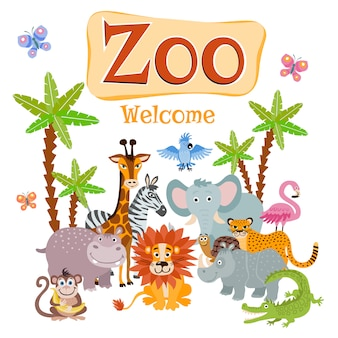 Zoo illustration with wild cartoon safari animals