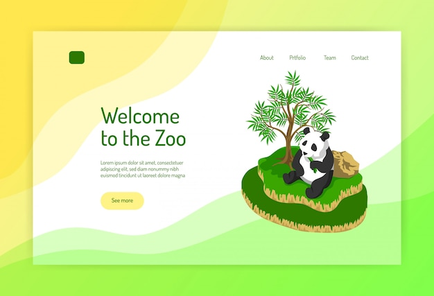 Zoo isometric concept of web page with panda during eating near tree on color