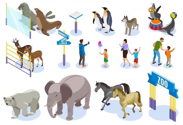 Zoo isometric icon set