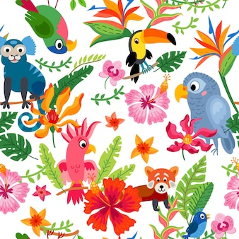 Зоопарк джунгли узор на фоне тропических птиц