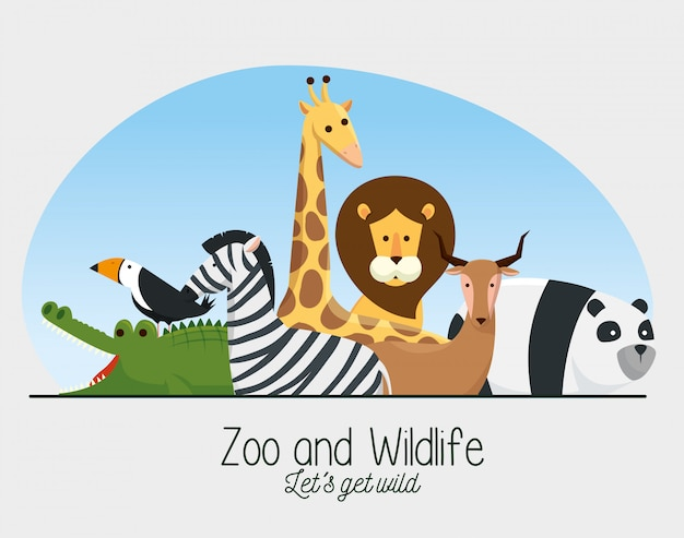 Zoo safari wild animals reserve Free Vector