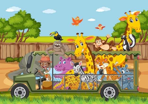 ケージの車の中で幸せな動物と動物園のシーン