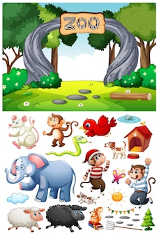 Zoo scene with isolated cartoon character and objects