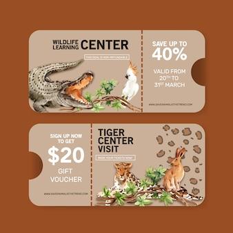 ワニ、ヒョウ、ウサギの水彩イラストと動物園チケットデザイン。