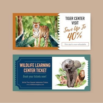 Zoo ticket design with elephant, lion, deer watercolor illustration.