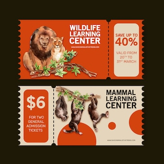 사자, 원숭이 수채화 일러스트와 함께 동물원 티켓 디자인.