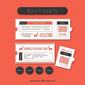 動物園のチケットセットとラベル