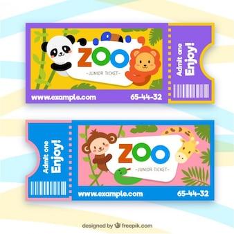 Zoo tickets with cartoon animals
