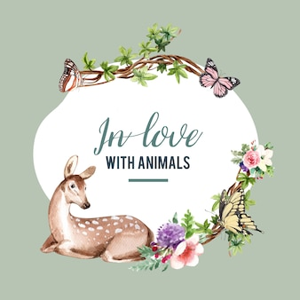 Zoo wreath design with butterfly, deer watercolor illustration,