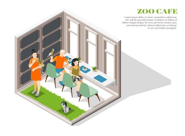 애완 동물과 그 소유자를위한 장소가있는 zoocafe 색과 격리 된 개념