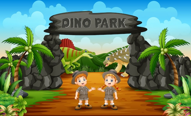 Zookeeper boy and girl on the dino park entrance