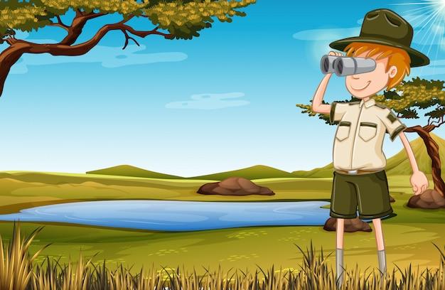 A zookeeper in savana