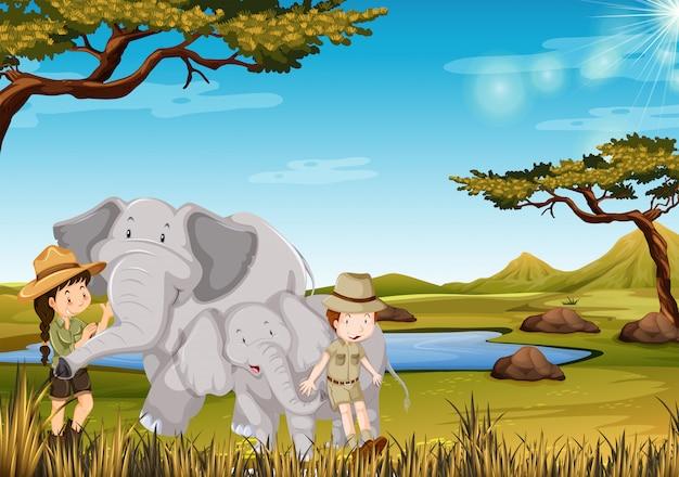 동물원에서 코끼리와 사육사