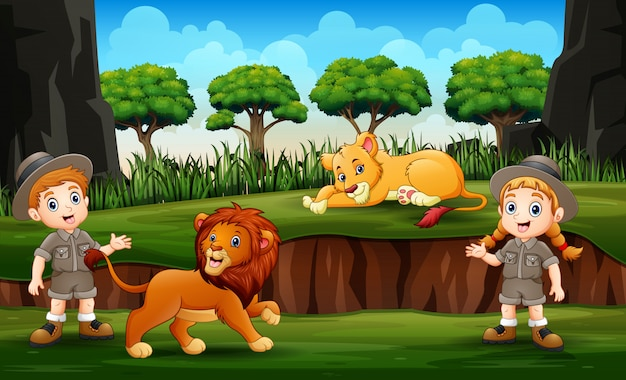 Zookeeper with lions on nature