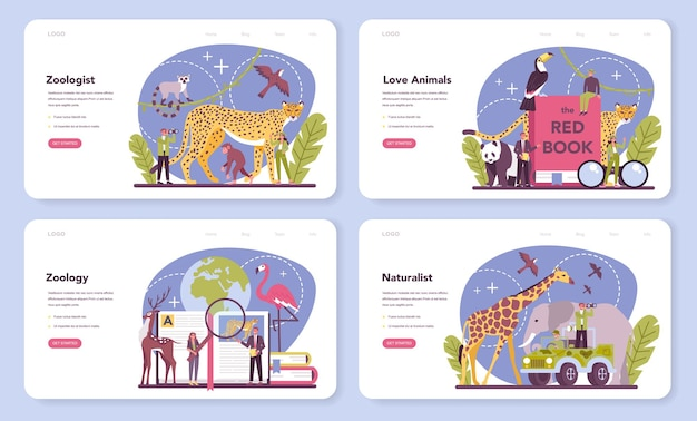 Zoologist web banner or landing page set. scientist exploring and studying fauna. wild animal studying and protection, naturalist going on expedition to wild nature.