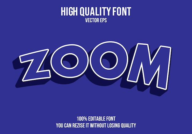 Zoom editable text effect