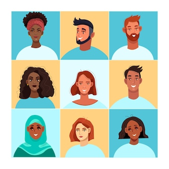 多様な人々の顔でビデオ会議のイラストをズームします。グループビデオ通話フラットコンセプト