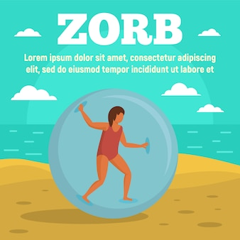 Zorb on beach concept banner template, flat style