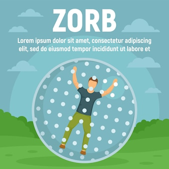 Zorb green field concept banner template, flat style