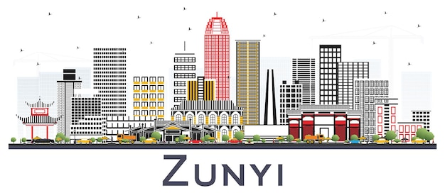 Zunyi china city skyline with gray buildings isolated on white. vector illustration. business travel and tourism concept with modern architecture. zunyi cityscape with landmarks.