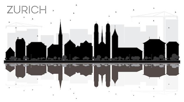 반사와 취리히 시 스카이 라인 흑백 실루엣. 벡터 일러스트 레이 션. 관광 프레젠테이션, 배너, 현수막 또는 웹 사이트를 위한 단순한 평면 개념입니다. 랜드마크가 있는 도시 풍경.