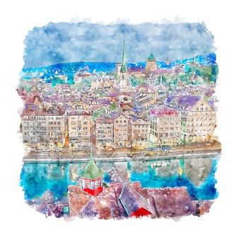 Zurich switzerland watercolor sketch hand drawn illustration