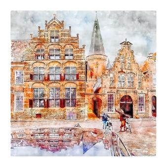 Zutphen 네덜란드 수채화 스케치 손으로 그린 그림