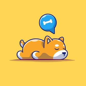 怠zyな犬の睡眠アイコン。眠っている柴犬、分離された動物アイコン