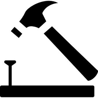 Hammer und Nagel auf Holz Umriss