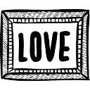 Liebe Wort in Rahmen