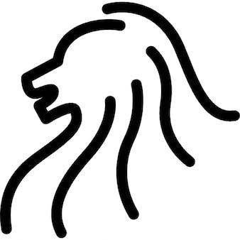 Löwenkopf Seitenansicht Kontur