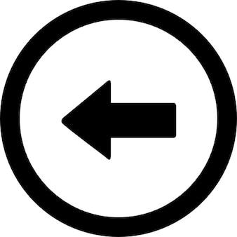 Pfeil in einem kreis punkt nach links