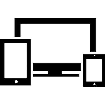 Reagiert Symbol mit einem Breitbild-Monitor ein Mobiltelefon und einen Tablet-
