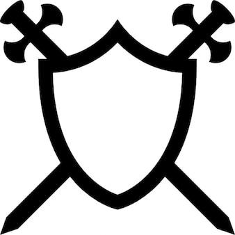 Schild mit zwei Schwertern in Quer