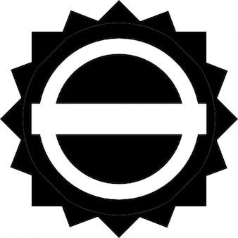 Schwarze runde Etikett mit einer weißen Fahne